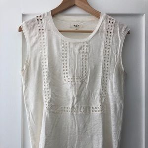 Madewell Linen Muscle Tee with Detail
